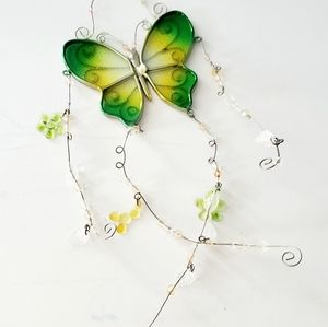 Other - Butterfly Green and Yellow Glass Sun Catcher